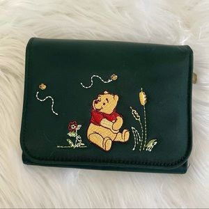 DISNEY STORE Winnie the Pooh Dark Green Wallet with Embroidered Detail